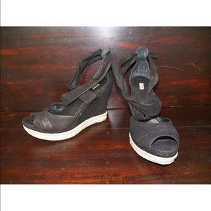 New Womens UGG Lucy Black Wrap Leather Wedge Heel